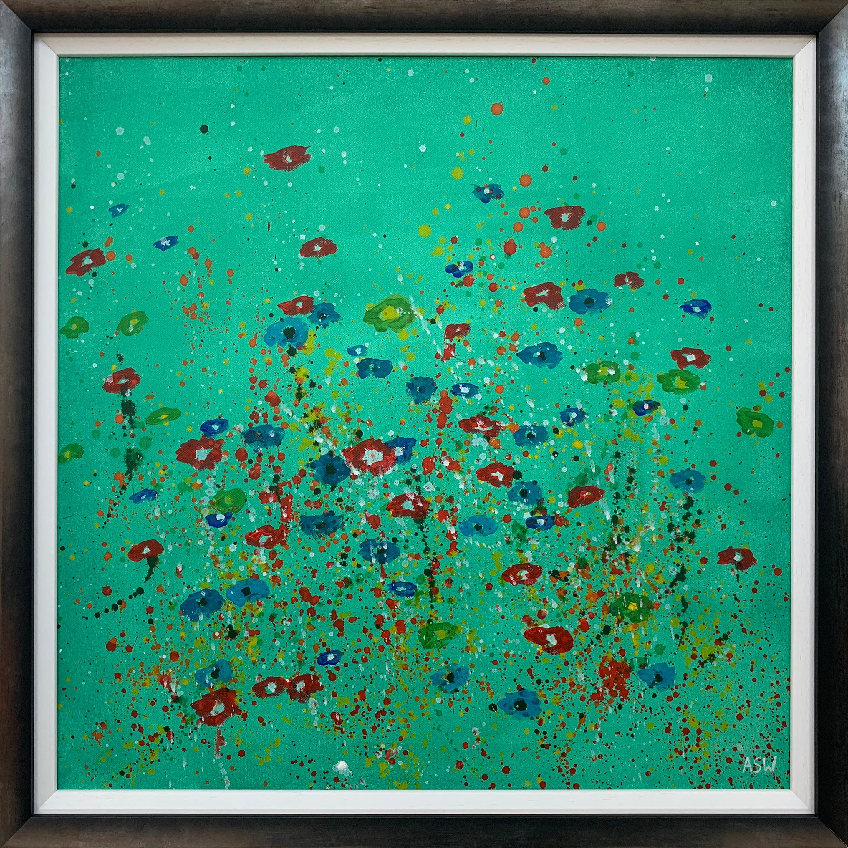 Abstract Red Blue Flowers on Green Background by Contemporary British Artist