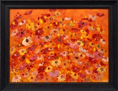 Abstract Red Pink Wild Flowers on Orange Background by British Landscape Artist