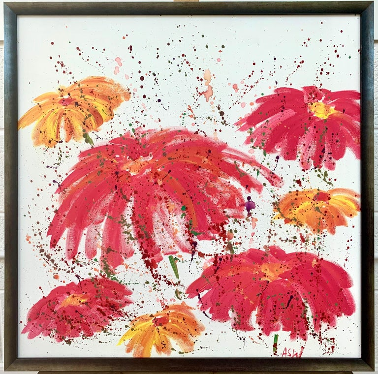 Abstract Red Pink Wild Flowers on White Background by British Landscape Artist For Sale 9
