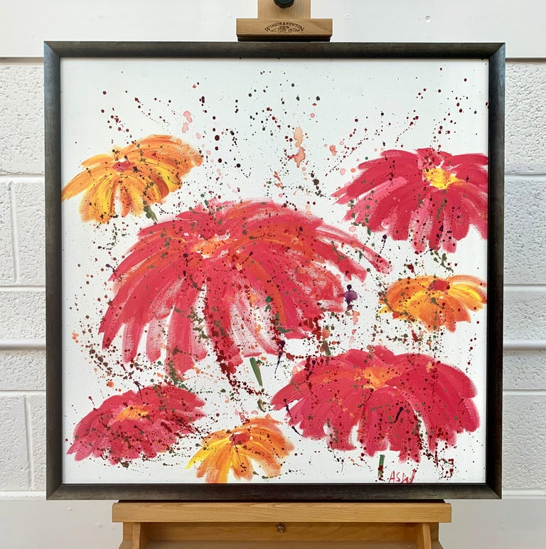 Abstract Red Pink Wild Flowers on White Background by British Landscape Artist For Sale 2
