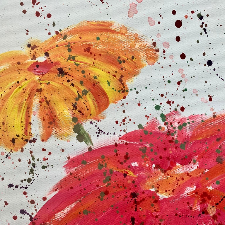Abstract Red Pink Wild Flowers on White Background by British Landscape Artist For Sale 4