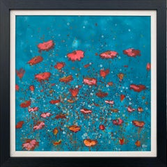 Abstract Red Pink Wild Flowers Turquoise Background by British Landscape Artist