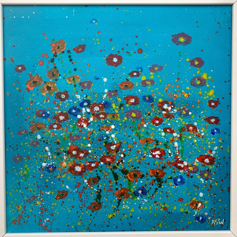 Abstract Red Pink Wild Flowers Turquoise Background II by British Artist 5