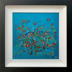 Abstract Red Pink Wild Flowers Turquoise Background II by British Artist