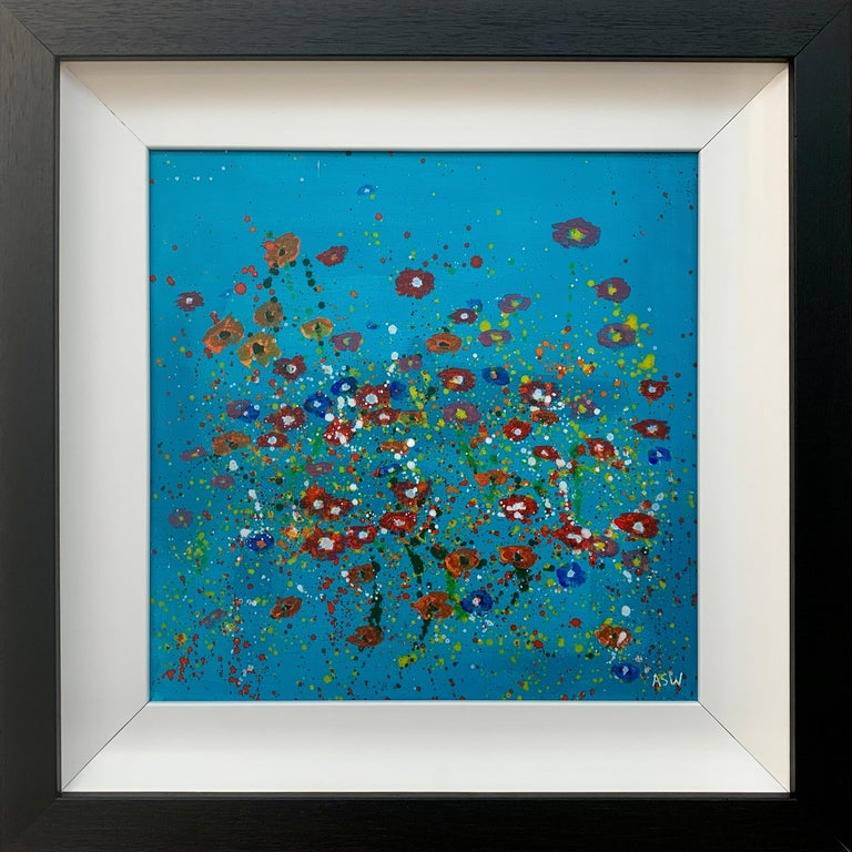 Painting of Abstract Red & Pink Wild Flowers on a Turquoise Background II by British Landscape Artist, Angela Wakefield. 'Spring Burst' Interior Design Series.   Art measures 16 x 16 inches Frame measures 24 x 24 inches  Angela Wakefield has twice