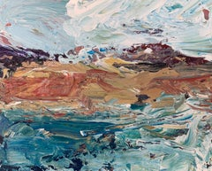 Abstract Seascape Landscape Miniature Study by Contemporary British Artist