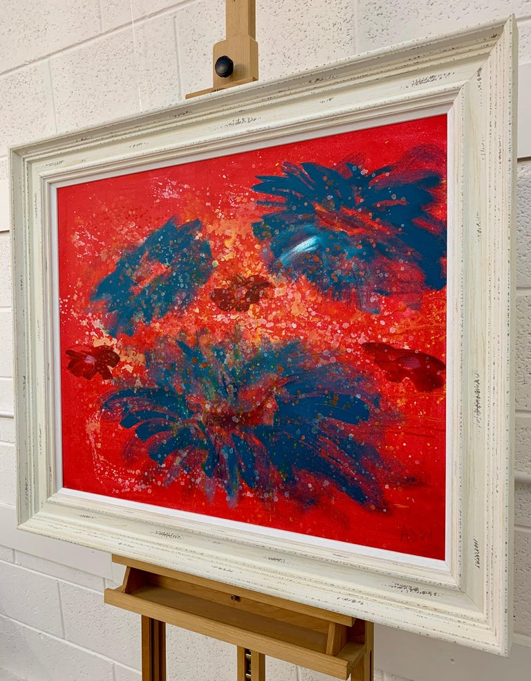 Painting of Abstract Turquoise & Red Flowers on a Pink Background by British Landscape Artist, Angela Wakefield. This original is from the 'Spring Burst' Interior Design Series. Framed in a high quality off-white shabby chic contemporary wooden