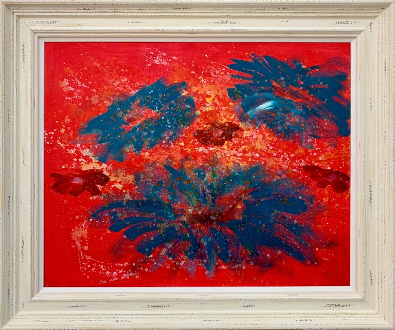 Angela Wakefield Abstract Drawing - Abstract Turquoise & Red Flowers on Pink Background by British Landscape Artist