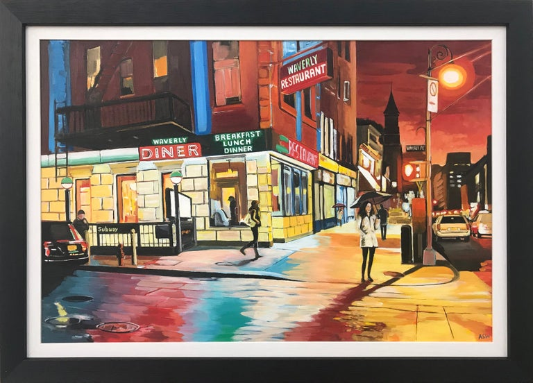 Angela Wakefield Landscape Painting - American Diner Greenwich Village 6th Avenue New York City NYC by British Artist