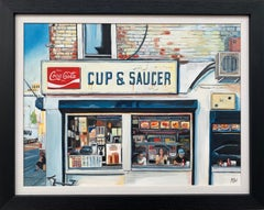 American Diner New York City Original Painting by Leading British Urban Artist