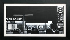 Painting of American Route 66 Gas Station at Night by Collectible British Artist