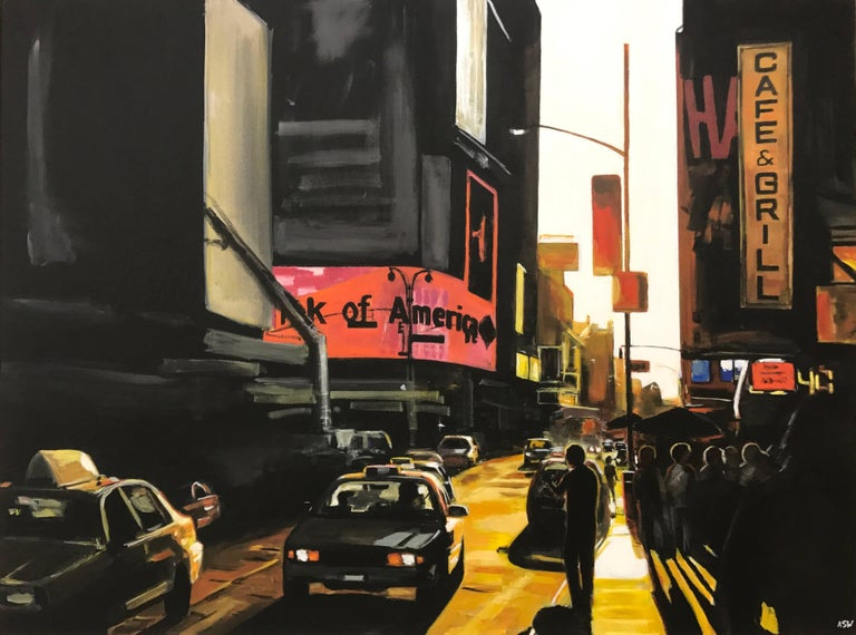 Large Original Painting of Broadway New York City by English Landscape Artist 1