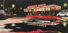 American Diner New Jersey Urban Landscape Painting Contemporary British Artist