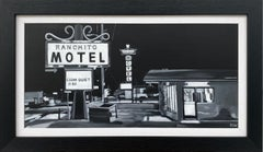 Black & White Americana Painting of Ranchito Motel on Route 66 New Mexico USA