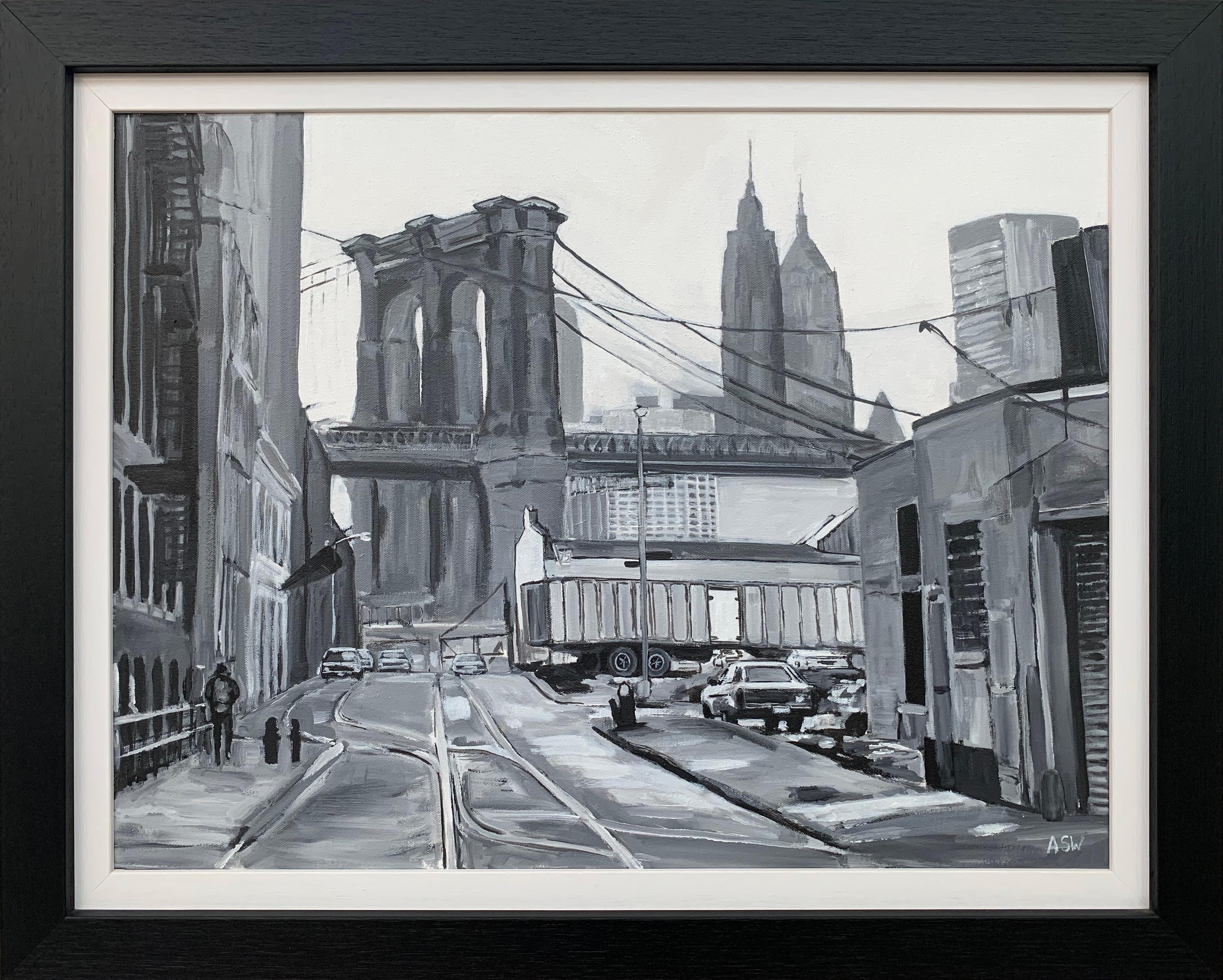 Black & White Brooklyn Bridge New York City by Contemporary British Urban Artist