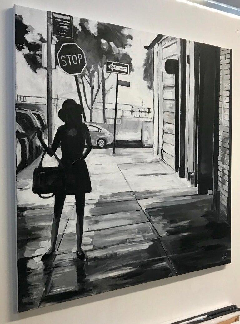 Black & White Female Figure Manhattan New York by British Urban Landscape Artist 2