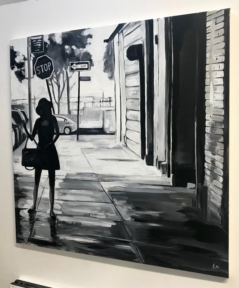 Black & White Female Figure Manhattan New York by British Urban Landscape Artist 3