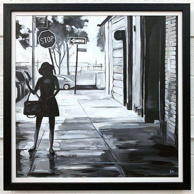 Black & White Female Figure Manhattan Woman in New York by British Urban Artist For Sale 1