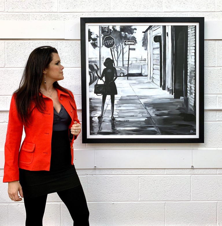 Black & White Female Figure Manhattan Woman in New York by British Urban Artist - Painting by Angela Wakefield