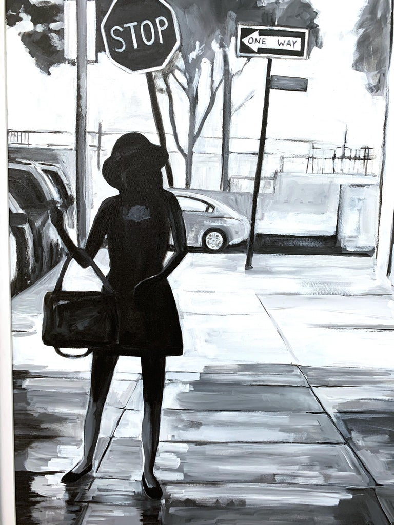 Black & White Female Figure Manhattan Woman in New York by British Urban Artist For Sale 3