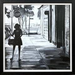 Black & White Female Figure Manhattan Woman in New York by British Urban Artist