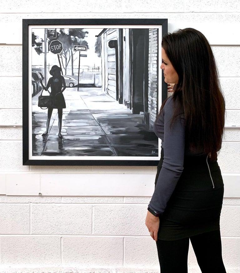 Black & White Female Figure Manhattan Woman in New York by British Urban Artist - Contemporary Painting by Angela Wakefield