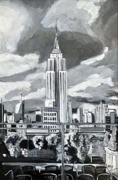 Black & White Painting Empire State Building New York City NYC by British Artist