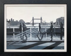Black & White Painting of People in Sunshine on London Bridge with Tower Bridge