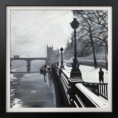 Black & White Painting of Victoria Embankment London by British Urban Artist