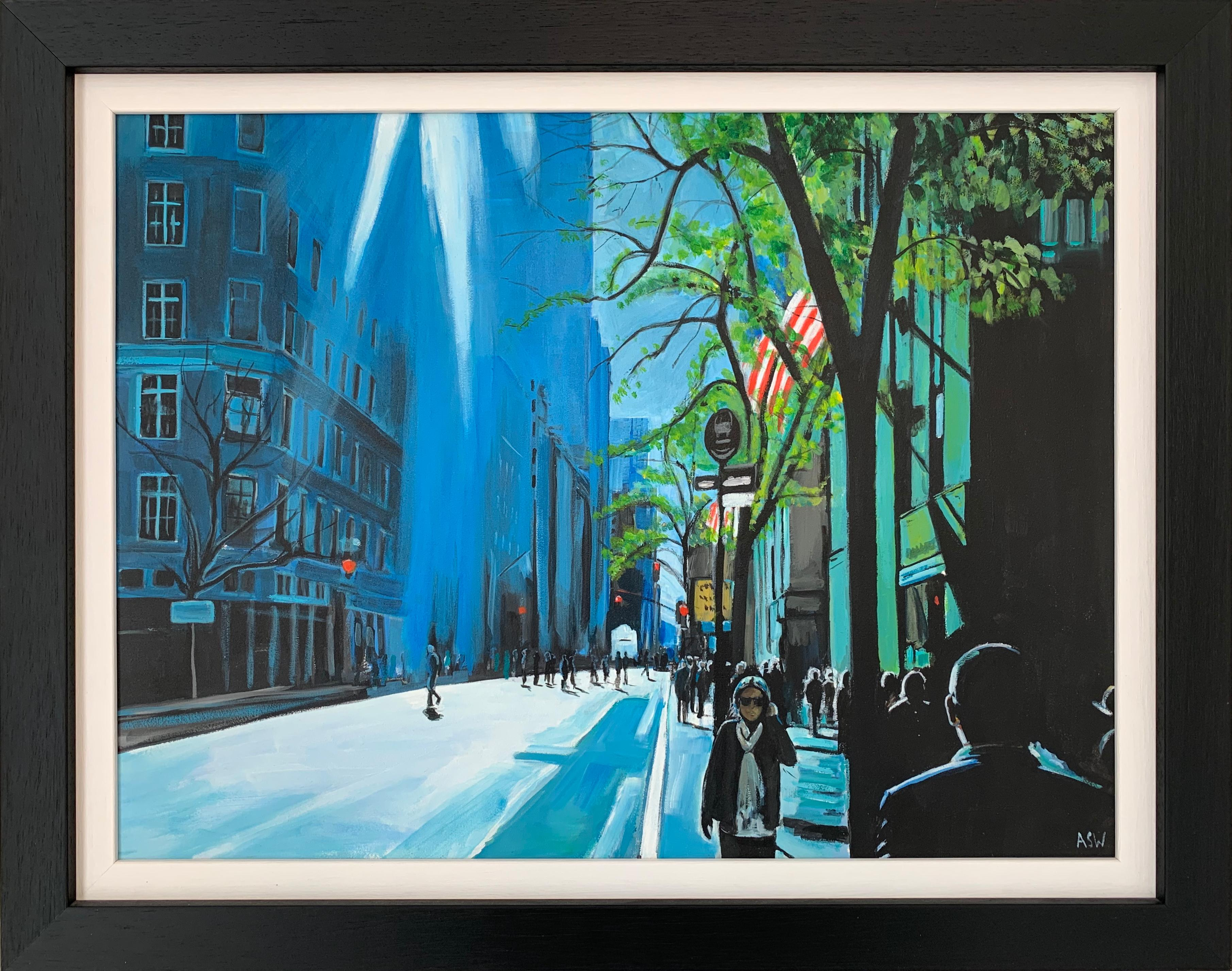 Blue Sky in New York City Sun by British Contemporary Urban Landscape Artist