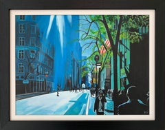 Blue Sky in New York City Sun by British Contemporary Urban Landscape Artist