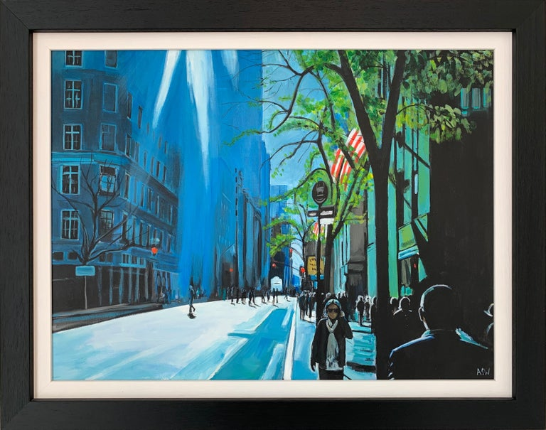 Angela Wakefield Figurative Painting - Blue Sky in New York City Sun by British Contemporary Urban Landscape Artist