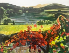 Painting of Hot Sunny Vineyard in Spain Countryside by English Landscape Artist