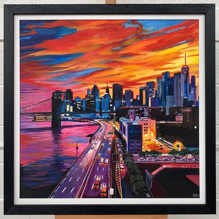 Brooklyn Bridge New York City NYC Skyline Painting by English Landscape Artist For Sale 1