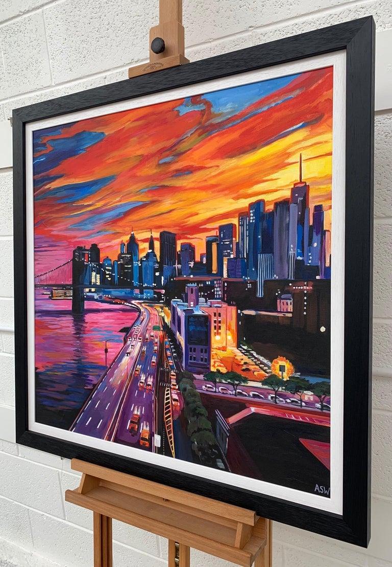 Brooklyn Bridge New York City NYC Skyline Painting by English Landscape Artist For Sale 2
