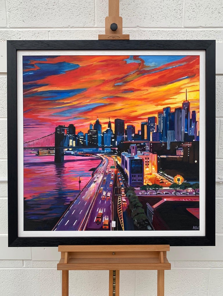 Brooklyn Bridge New York City NYC Skyline Painting by English Landscape Artist For Sale 4