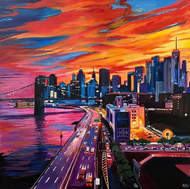 Brooklyn Bridge New York City NYC Skyline Painting by English Landscape Artist - Black Landscape Painting by Angela Wakefield
