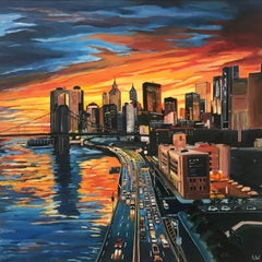 Brooklyn Bridge New York City NYC Skyline Painting by English Landscape Artist