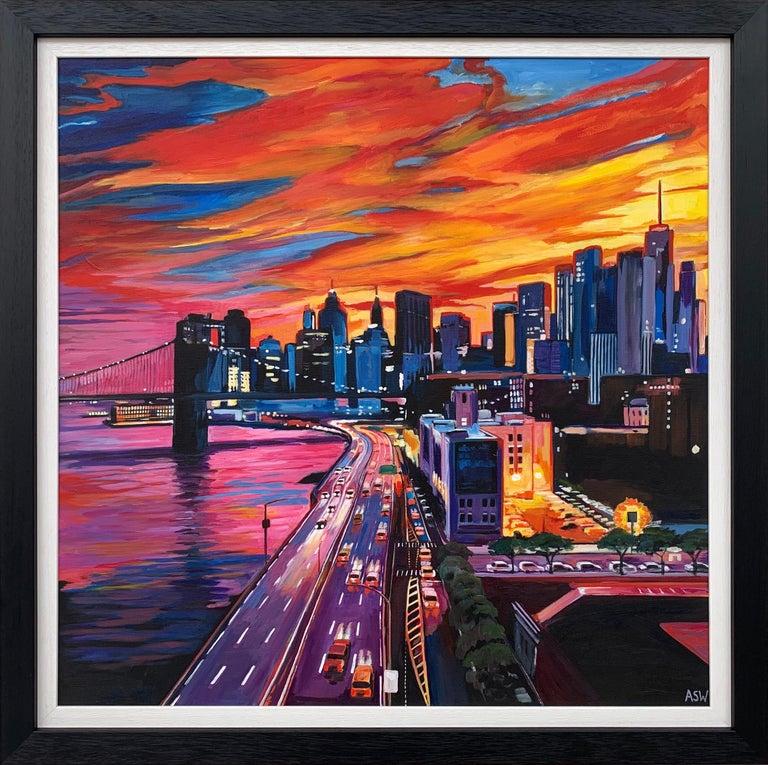 Angela Wakefield Landscape Painting - Brooklyn Bridge New York City NYC Skyline Painting by English Landscape Artist