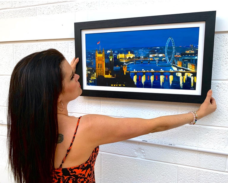 City of London River Thames at Night with Big Ben Westminster by British Artist - Painting by Angela Wakefield