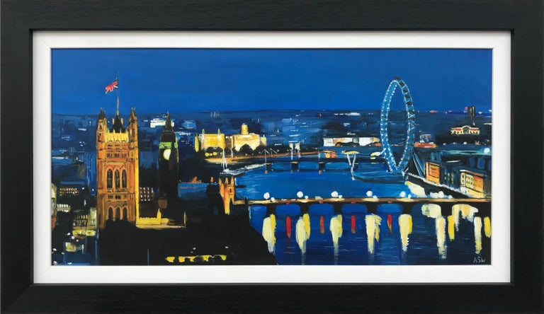 Angela Wakefield Figurative Painting - City of London River Thames at Night with Big Ben Westminster by British Artist
