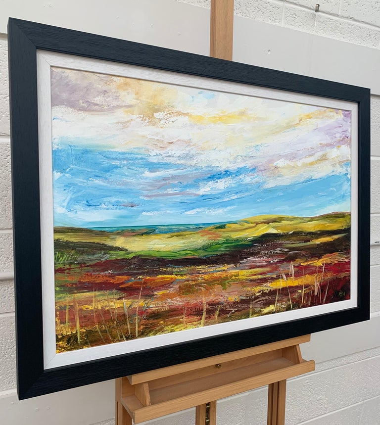 Colourful Abstract Landscape Painting of English Countryside Contemporary Artist For Sale 1
