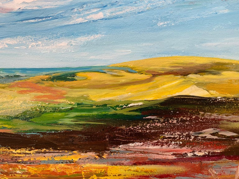Colourful Abstract Landscape Painting of English Countryside Contemporary Artist For Sale 5