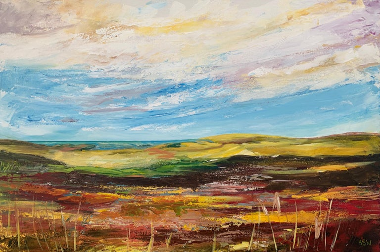 Colourful Abstract Landscape Painting of English Countryside Contemporary Artist For Sale 6