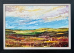 Colourful Abstract Landscape Painting of English Countryside Contemporary Artist