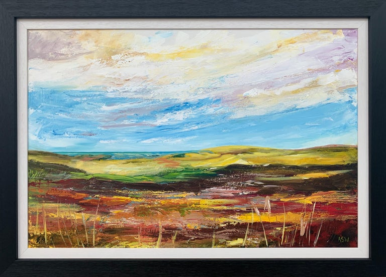 Colourful Abstract Landscape Painting of the English Countryside by Leading Contemporary British Artist, Angela Wakefield   Art measures 30 x 20 inches Frame measure 35 x 25 inches   Angela Wakefield has twice been on the front cover of 'Art of