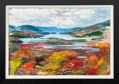 Colourful Abstract Landscape Painting of the Hudson River by Contemporary Artist