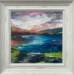 Colourful Abstract River Bank Lakeside Landscape by Contemporary British Artist