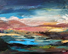 Colourful Expressive Abstract Mountain Landscape by Contemporary British Artist