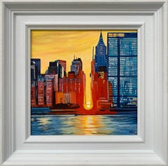 Contemporary Realism of New York City Sunset by Collectible British Artist
